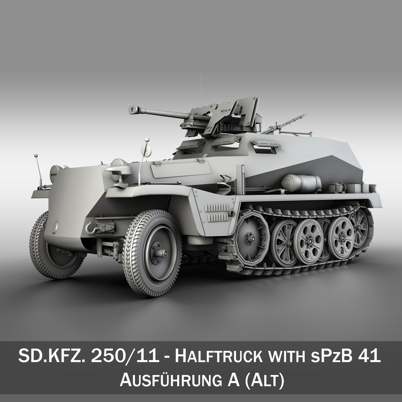 sdkfz 250 – halftruck with spzb 41 3d model 3ds fbx c4d lwo obj 251641