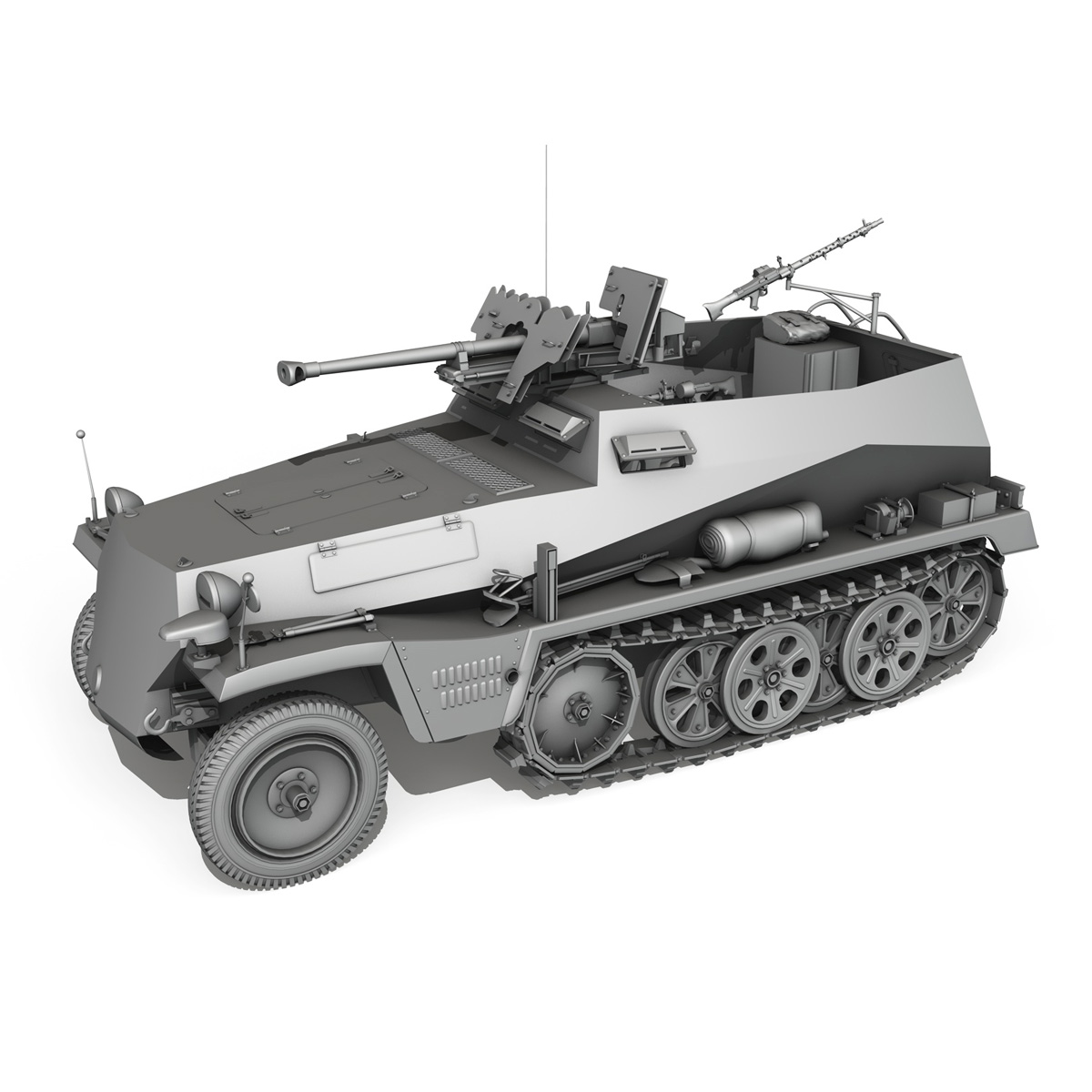 sdkfz 250 – halftruck with spzb 41 3d model 3ds fbx c4d lwo obj 251642