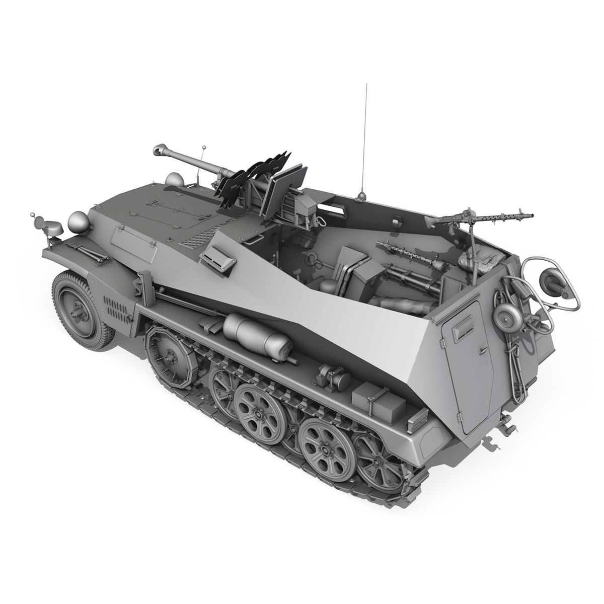sdkfz 250 – halftruck with spzb 41 3d model 3ds fbx c4d lwo obj 251643