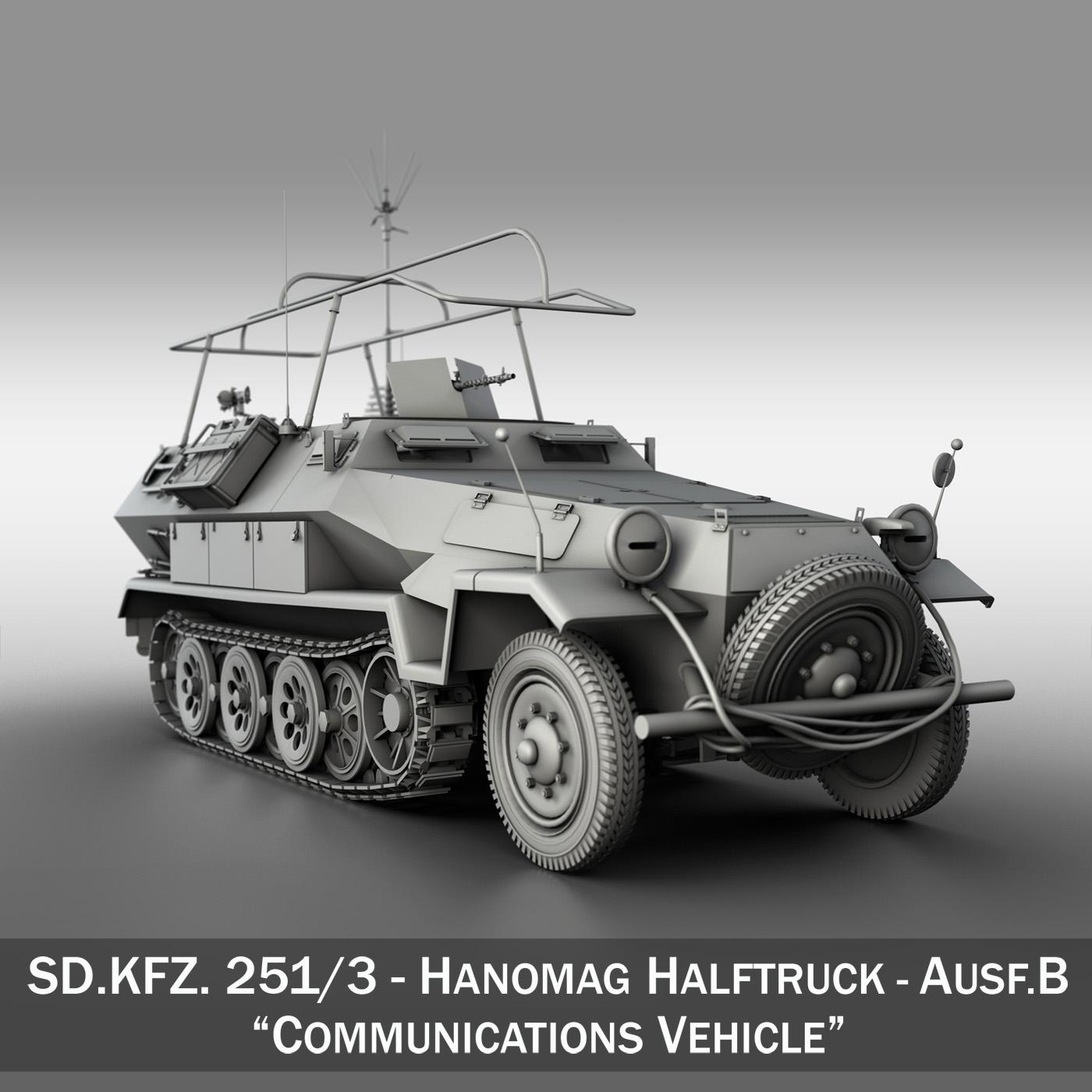 sdkfz 251 ausf.b – communications vehicle 3d model 3ds fbx c4d lwo obj 251691