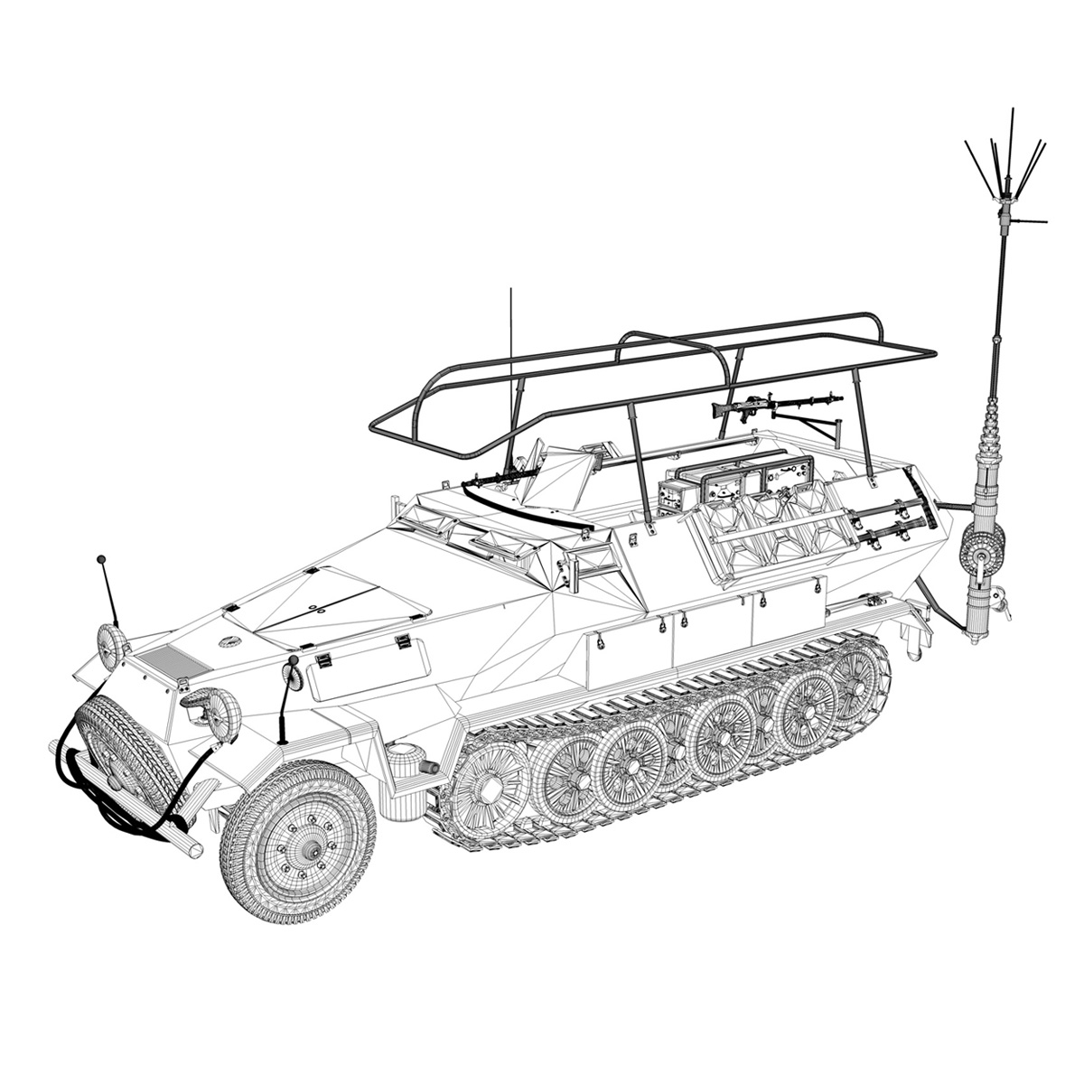 sdkfz 251 ausf.b – communications vehicle 3d model 3ds fbx c4d lwo obj 251700
