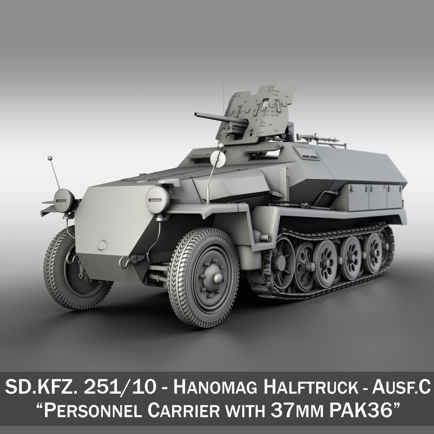 sdkfz 251 ausf.c – hanomag half-track 3d model 3ds fbx c4d lwo obj 251702
