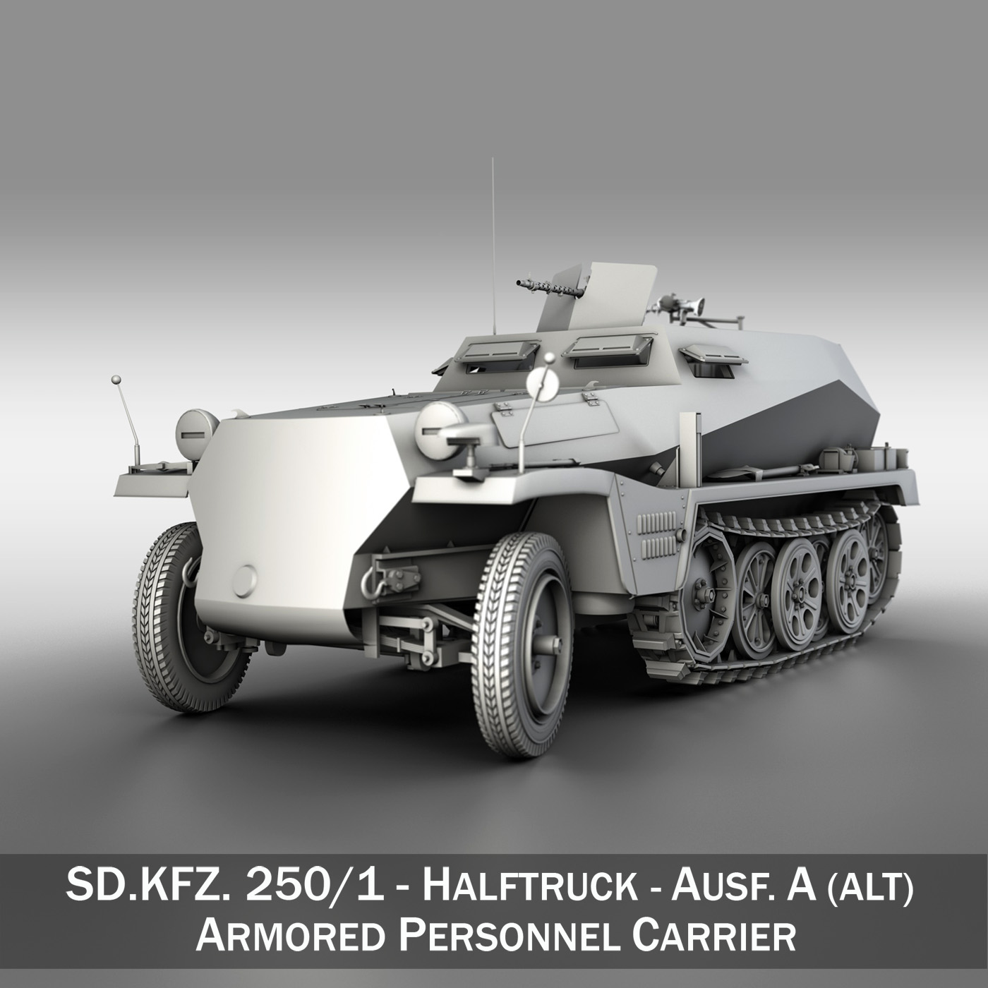 sd.kfz 250 – german halftruck 3d model 3ds fbx c4d lwo obj 251713