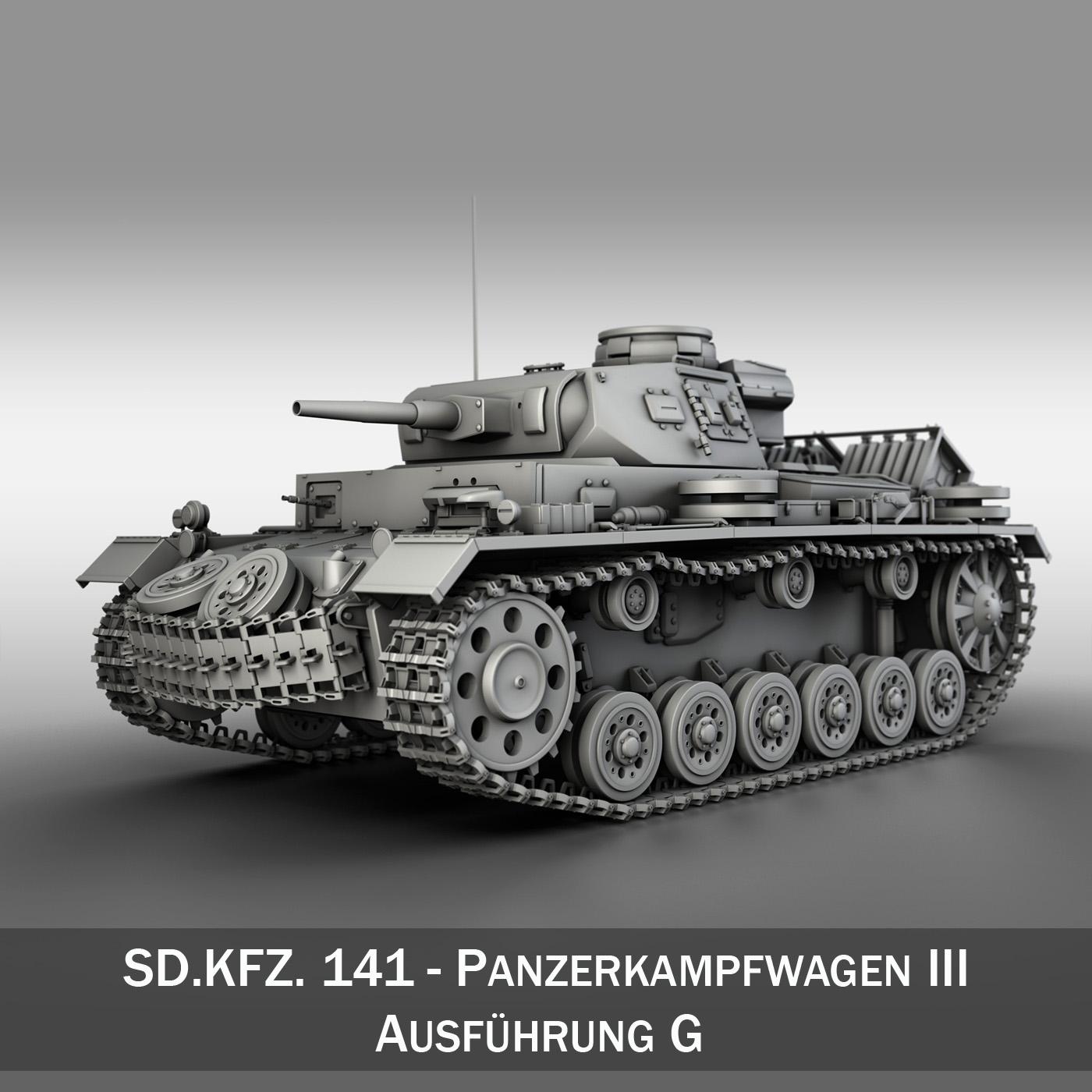 pzkpfw iii - panzer 3 - ausf.g Samhail 3d 3ds fbx c4d lwo obj 251768