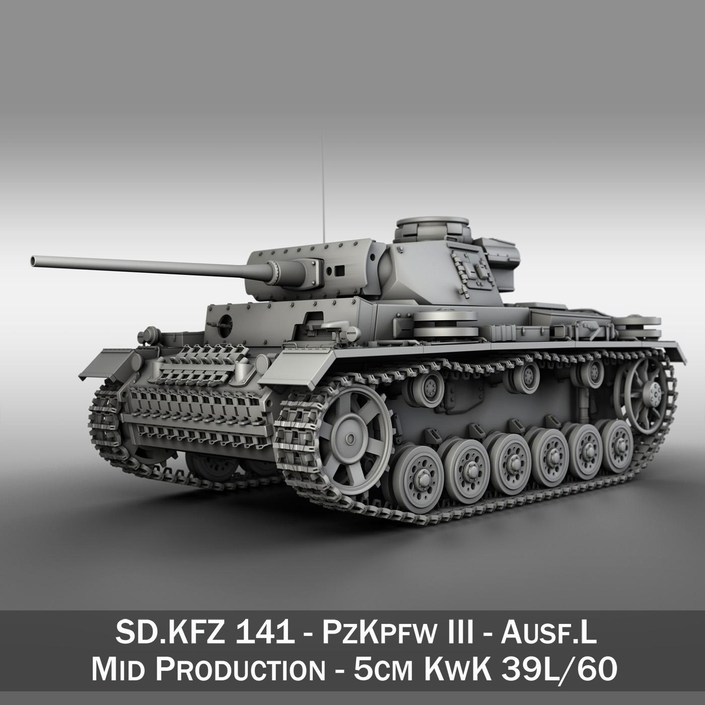pzkpfw iii - panzerkampfwagen iii - ausf.l model 3d 3ds fbx c4d lwo obj 252154