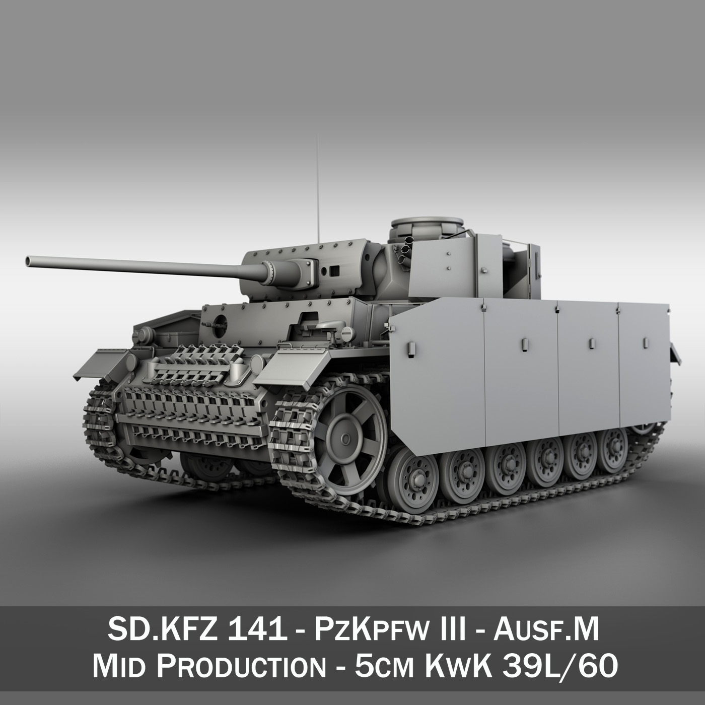 pzkpfw iii - panzer 3 - ausf.m Model 3d 3ds fbx c4d lwo obj 252165