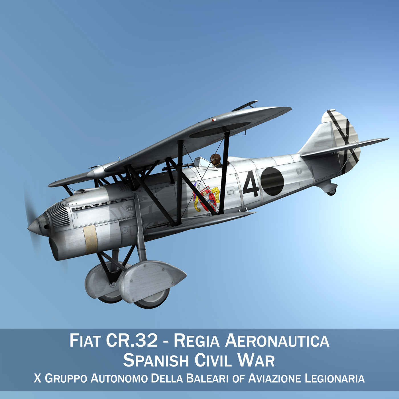 fiat cr.32 - włochy air force - gruppo baleari 3d model fbx c4d lwo obj 252211