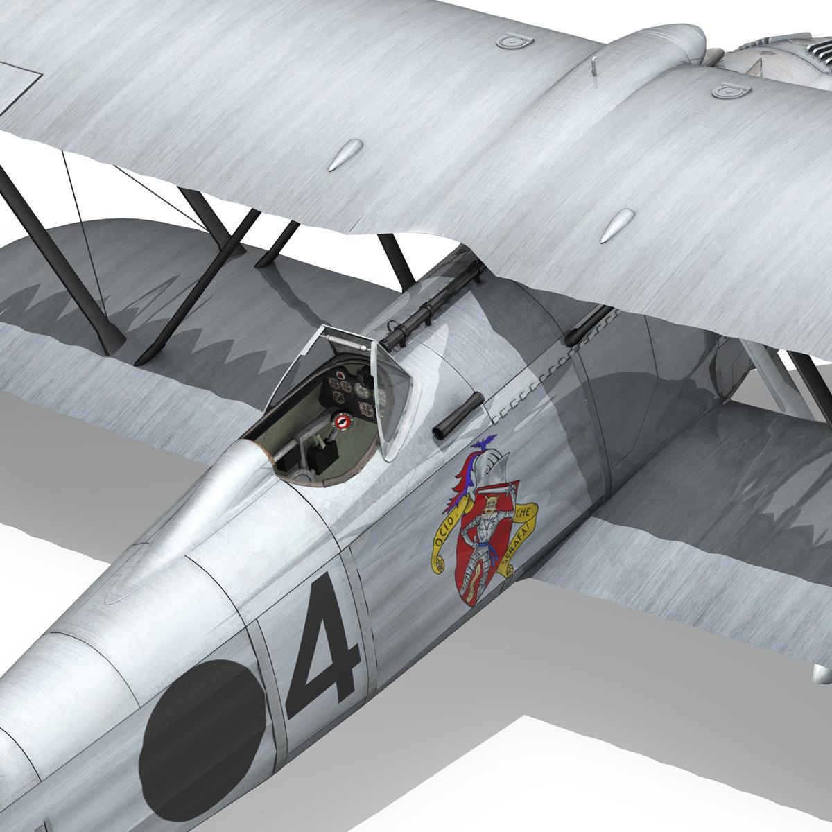 fiat cr.32 - Италийн агаарын хүчний - бүлгийн баллари 3d загвар fbx c4d lwo obj 252217