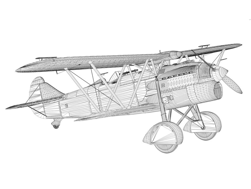 fiat cr.32 - Италийн агаарын хүчний - бүлгийн баллари 3d загвар fbx c4d lwo obj 252220