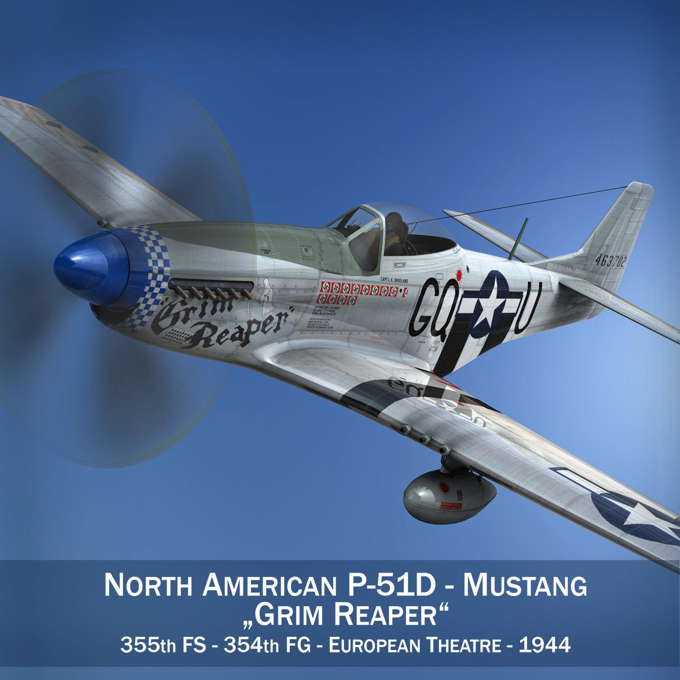 north american p-51d mustang – grim reaper 3d model fbx c4d lwo obj 252222