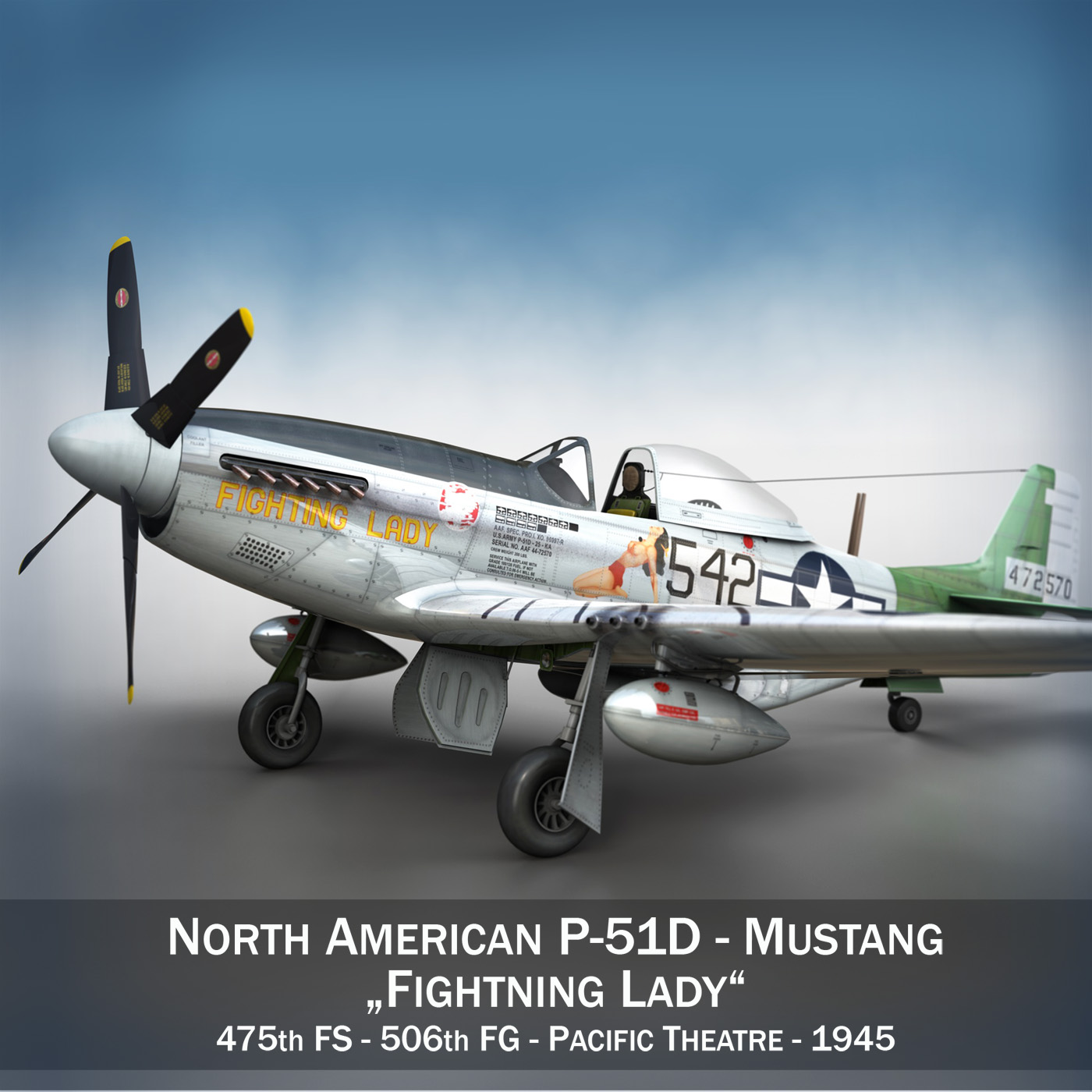 north american p-51d mustang – fighting lady 3d model 3ds fbx c4d lwo obj 252233