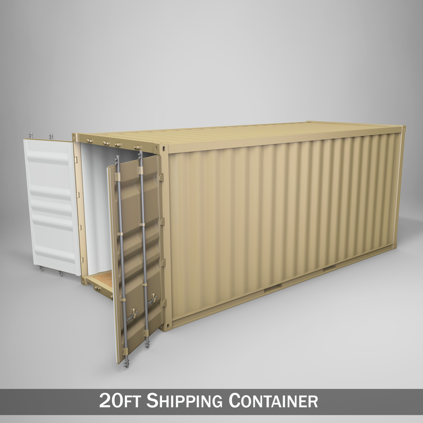 20ft shipping container 3d model 3ds fbx c4d lwo obj 252255