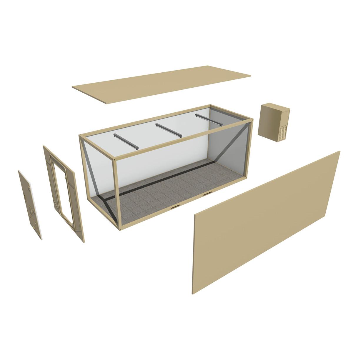 20ft ofis konteyner versiyası iki 3d model 3ds fbx c4d lwo obj 252278