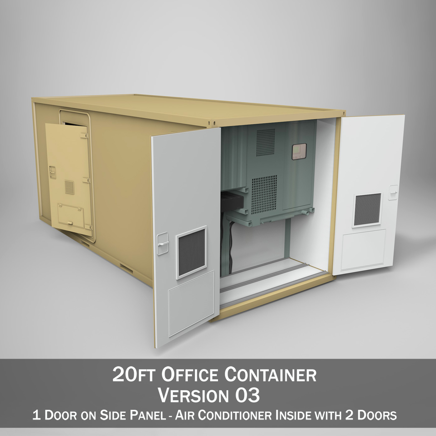 20ft office container version three 3d model 3ds fbx c4d lwo obj 252282