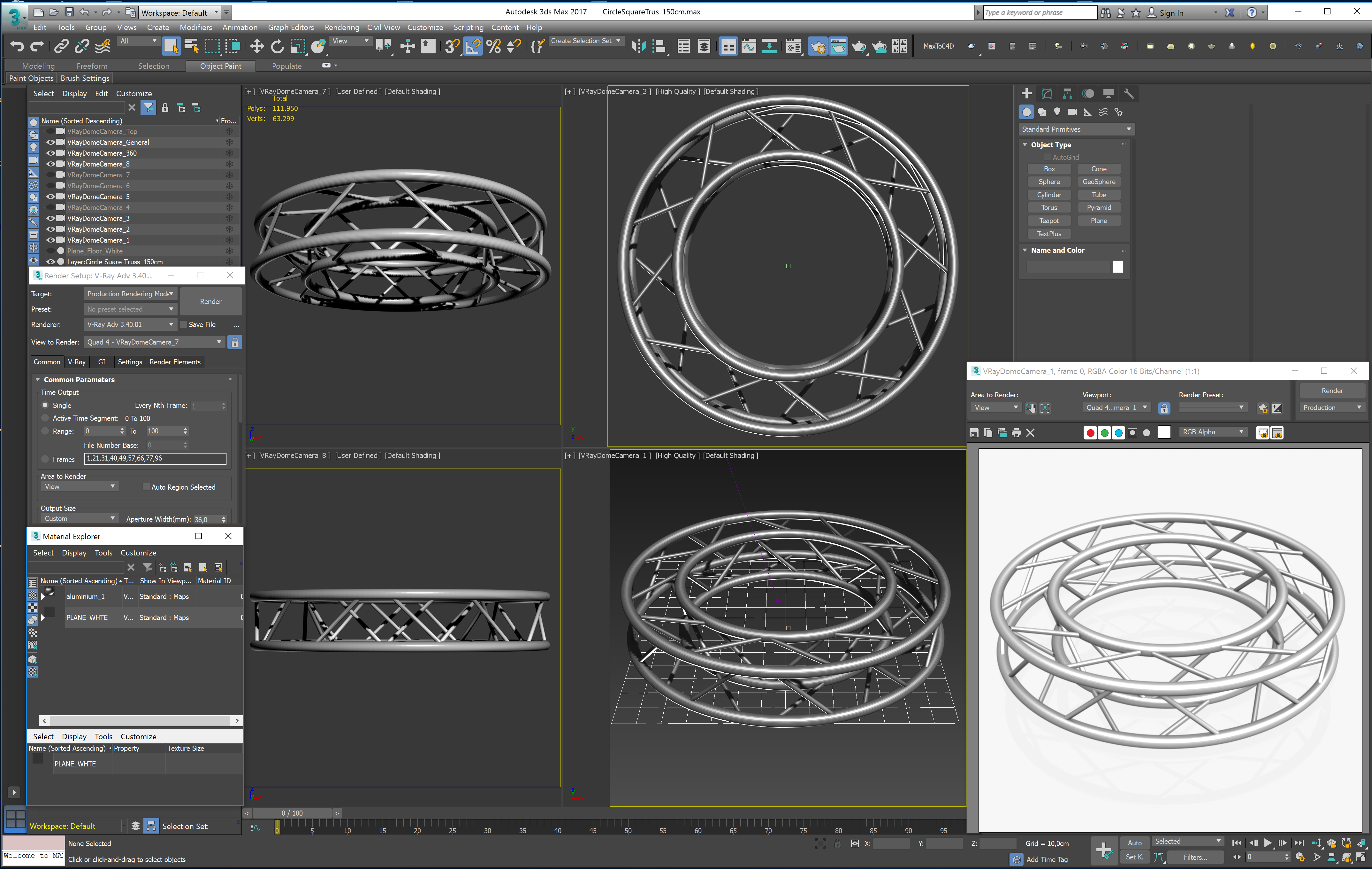 circle square truss full diameter 150cm 3d model 3ds max fbx c4d dae  obj 252302