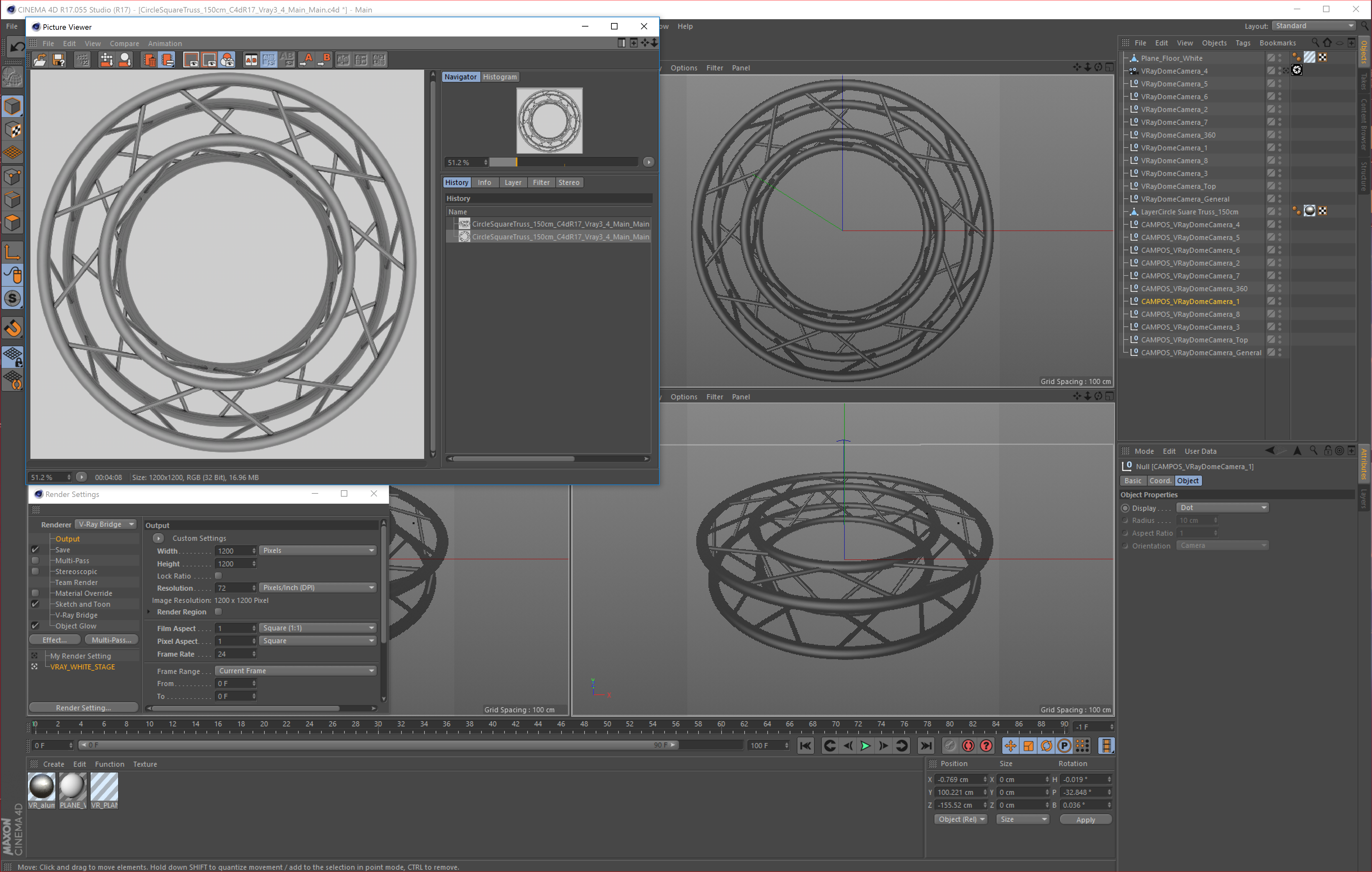 circle square truss full diameter 150cm 3d model 3ds max fbx c4d dae  obj 252303