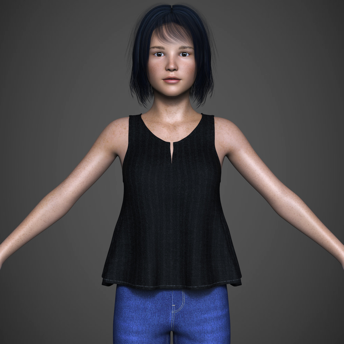 beautiful teen girl 3d model max fbx c4d ma mb texture obj 252307