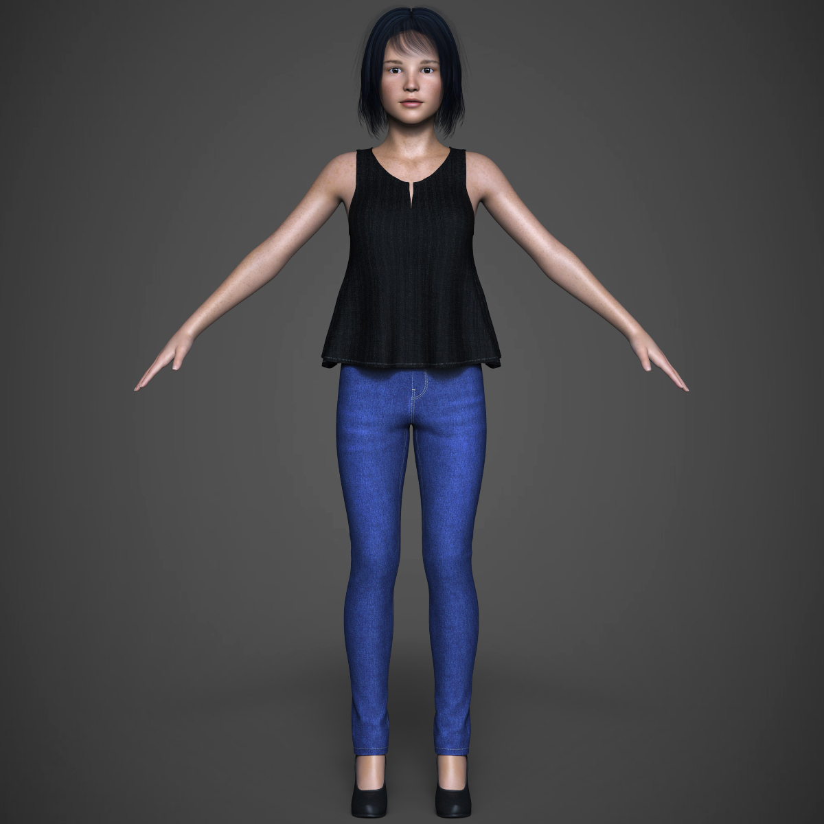 beautiful teen girl 3d model max fbx c4d ma mb texture obj 252311