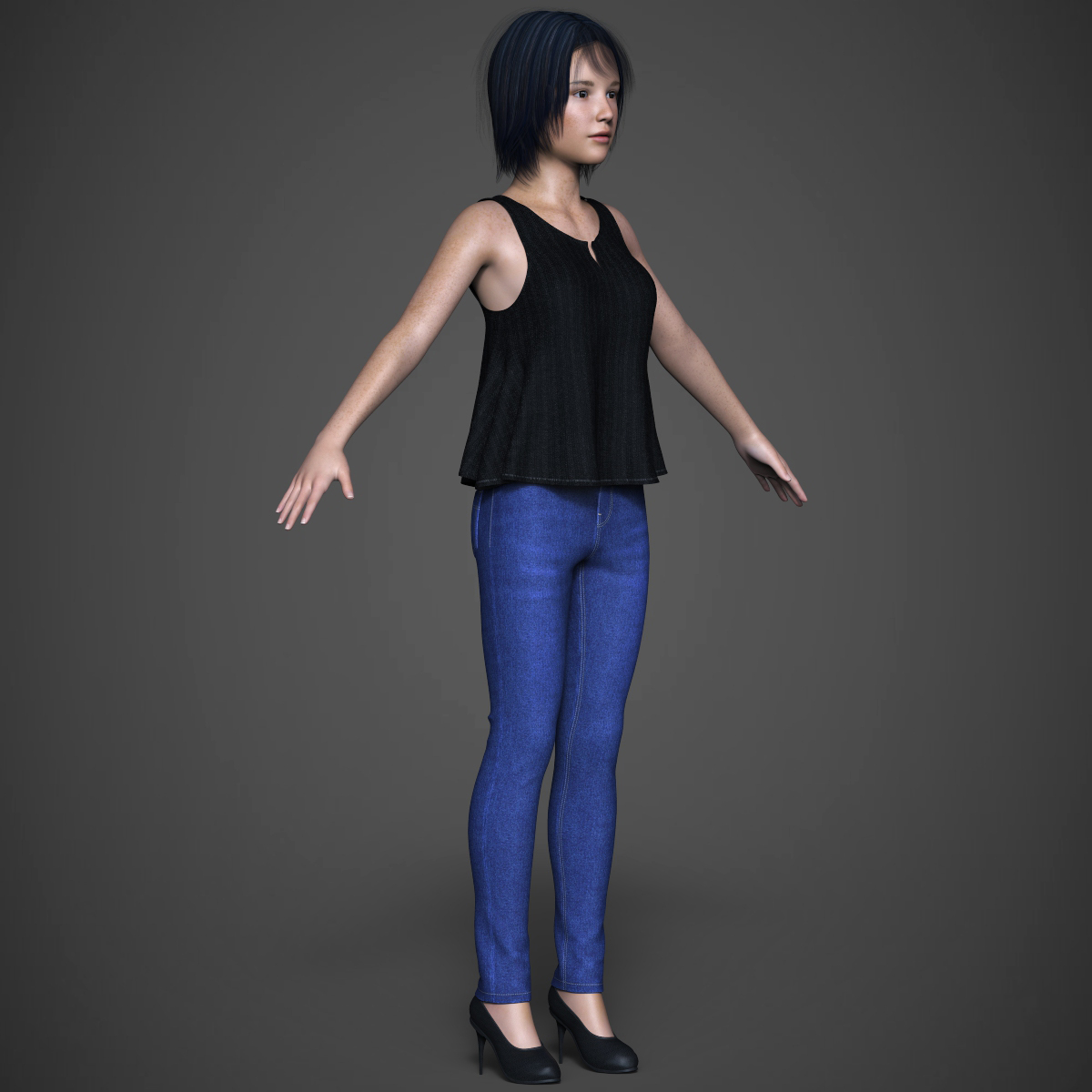 beautiful teen girl 3d model max fbx c4d ma mb texture obj 252316