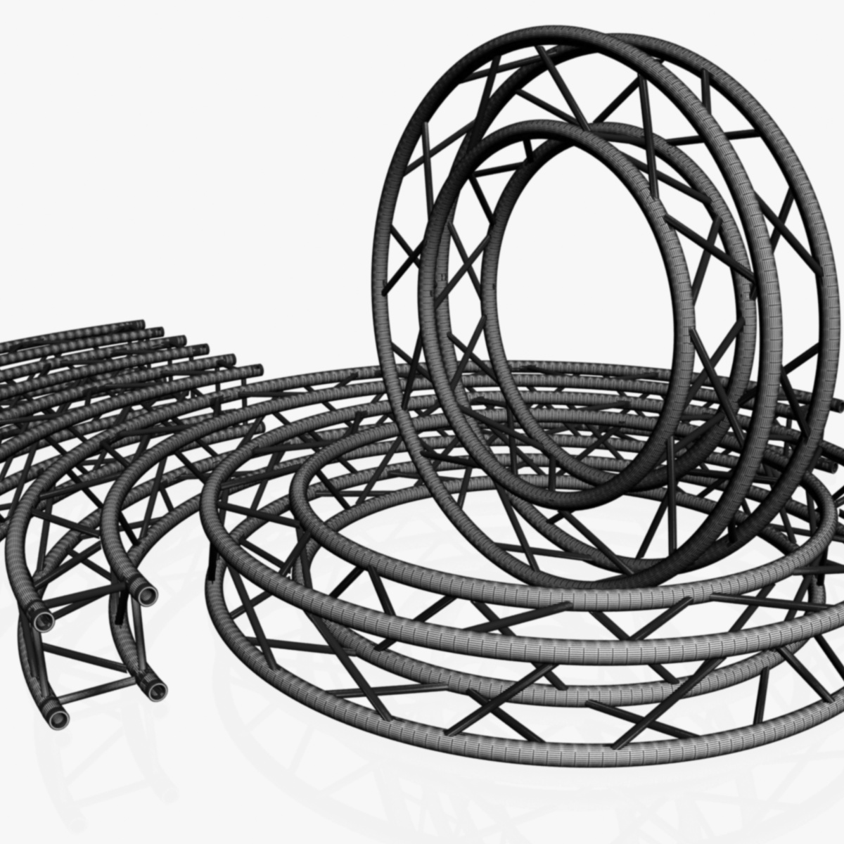circle square truss modular collection 3d model 3ds max dxf fbx c4d dae  texture obj 252338