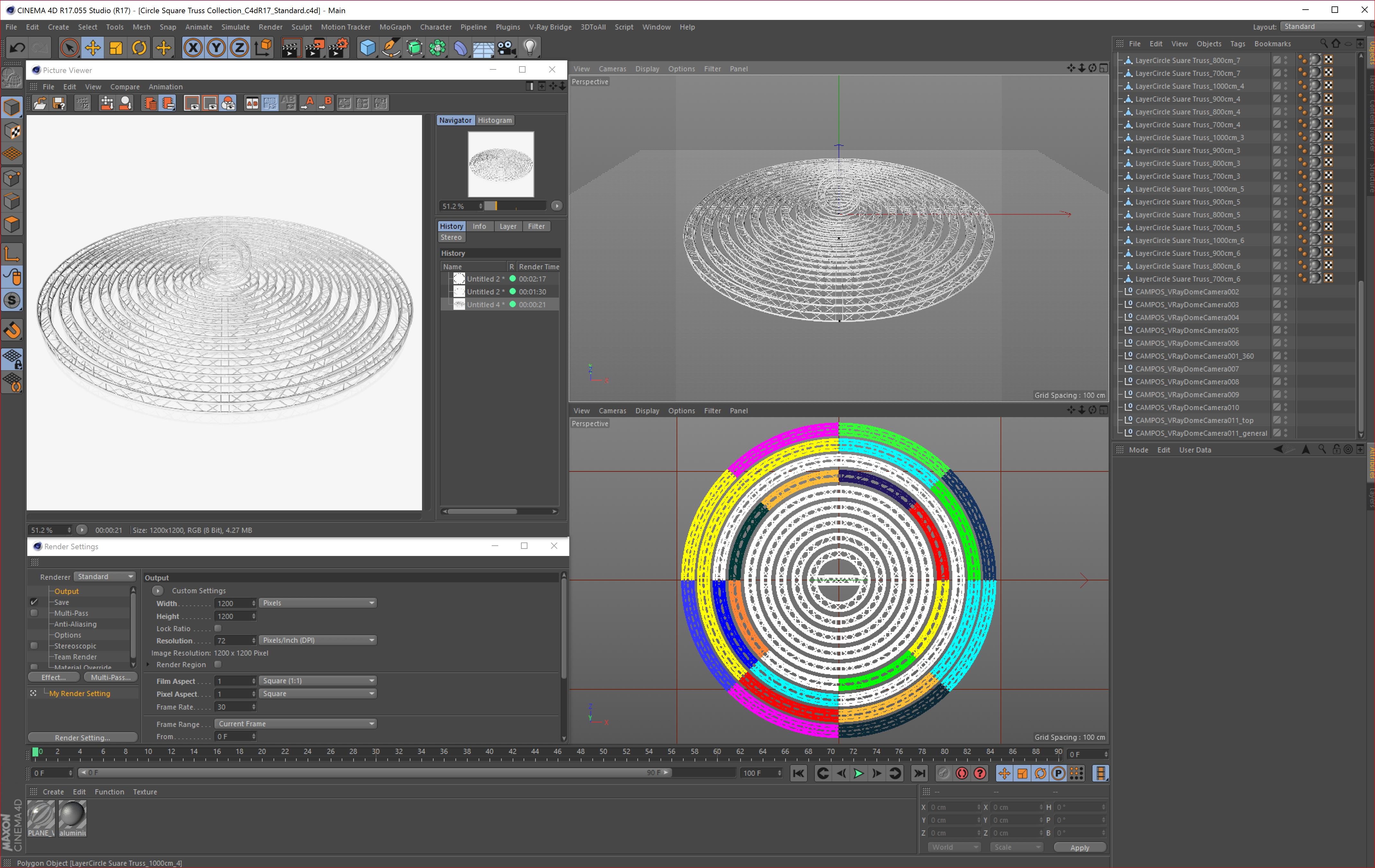 circle square truss modular collection 3d model 3ds max dxf fbx c4d dae  texture obj 252351