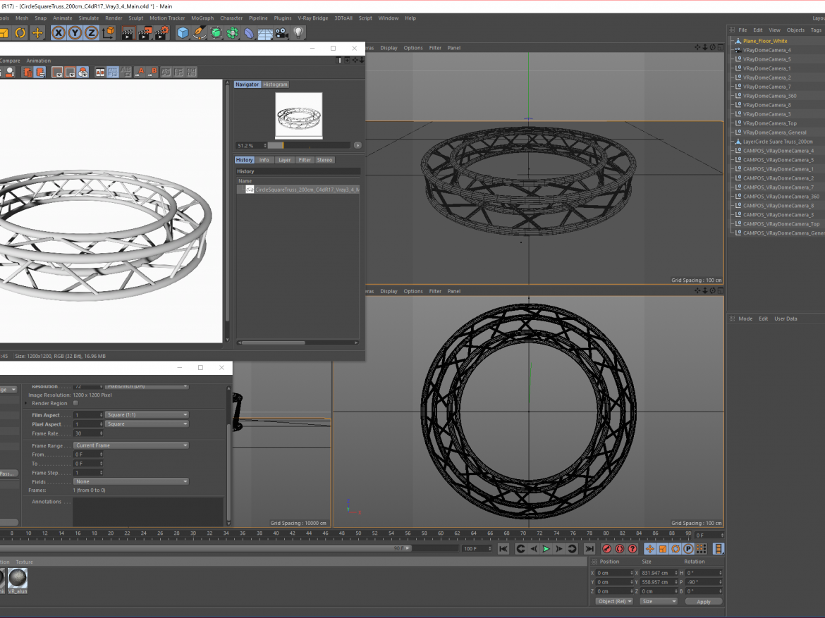 Circle Square Truss (Full diameter 200cm)  ( 1478.71KB png by akeryilmaz )
