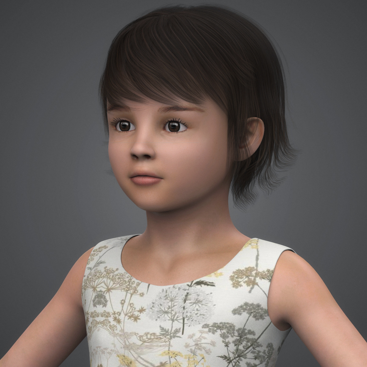 beautiful child girl 3d model max fbx c4d ma mb texture obj 252390