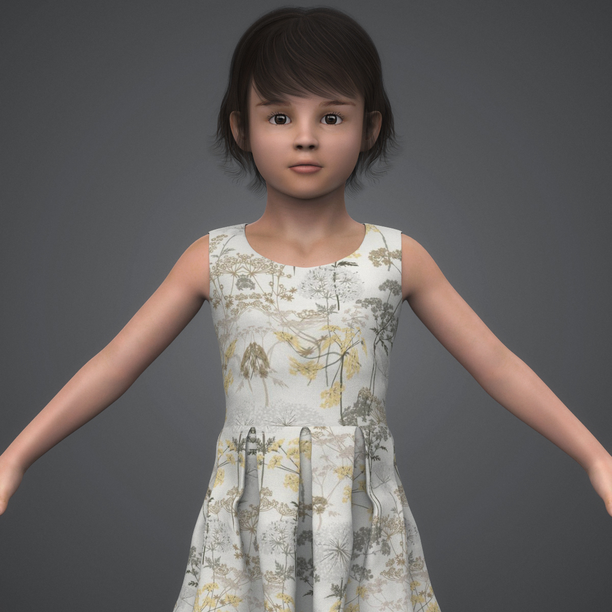 beautiful child girl 3d model max fbx c4d ma mb texture obj 252391