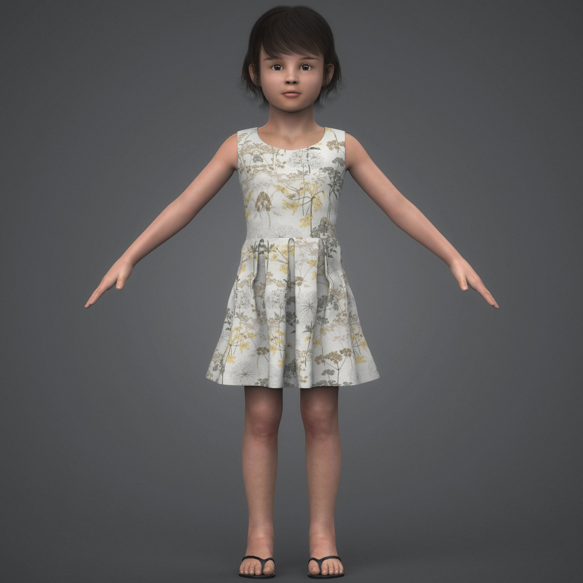 beautiful child girl 3d model max fbx c4d ma mb texture obj 252395