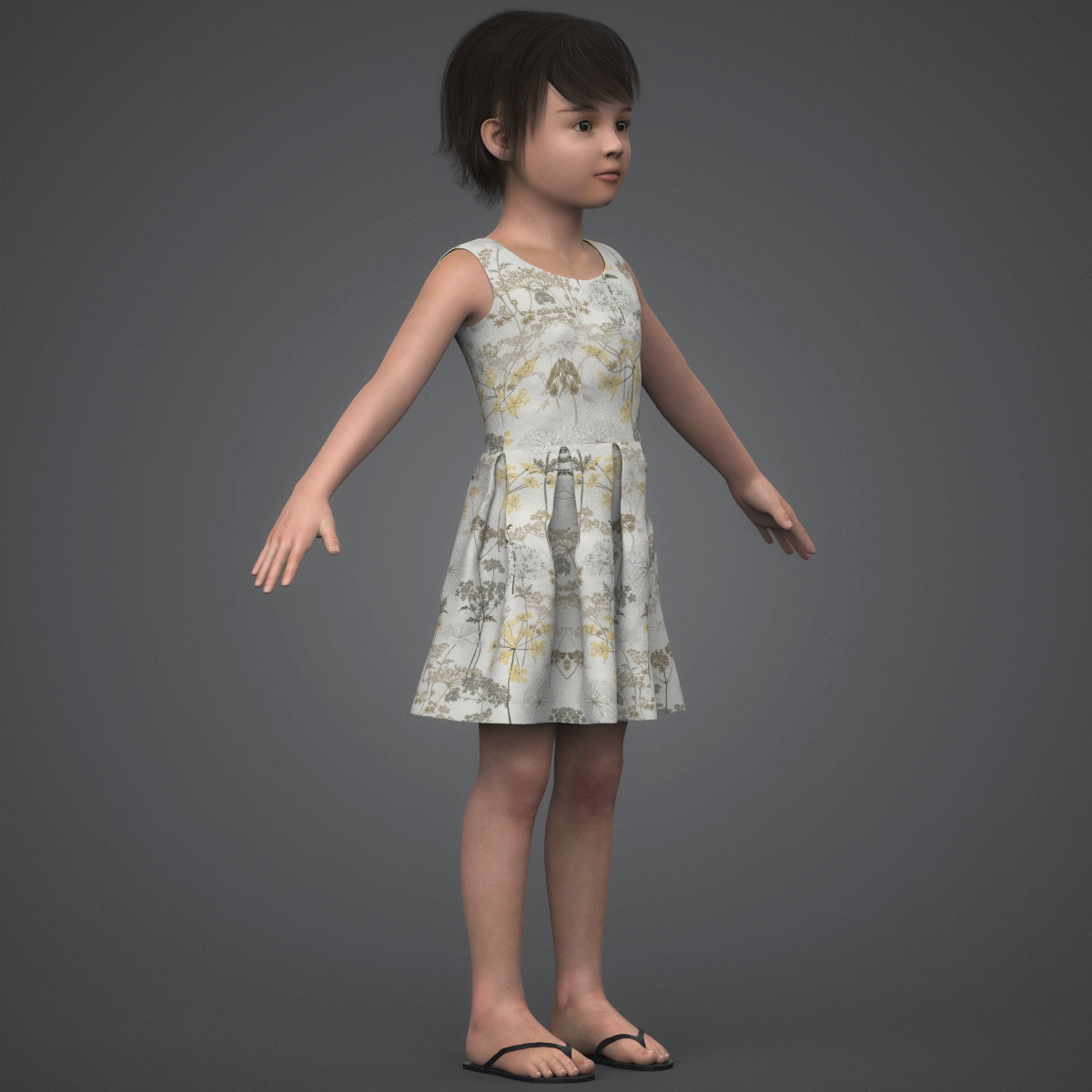 beautiful child girl 3d model max fbx c4d ma mb texture obj 252400