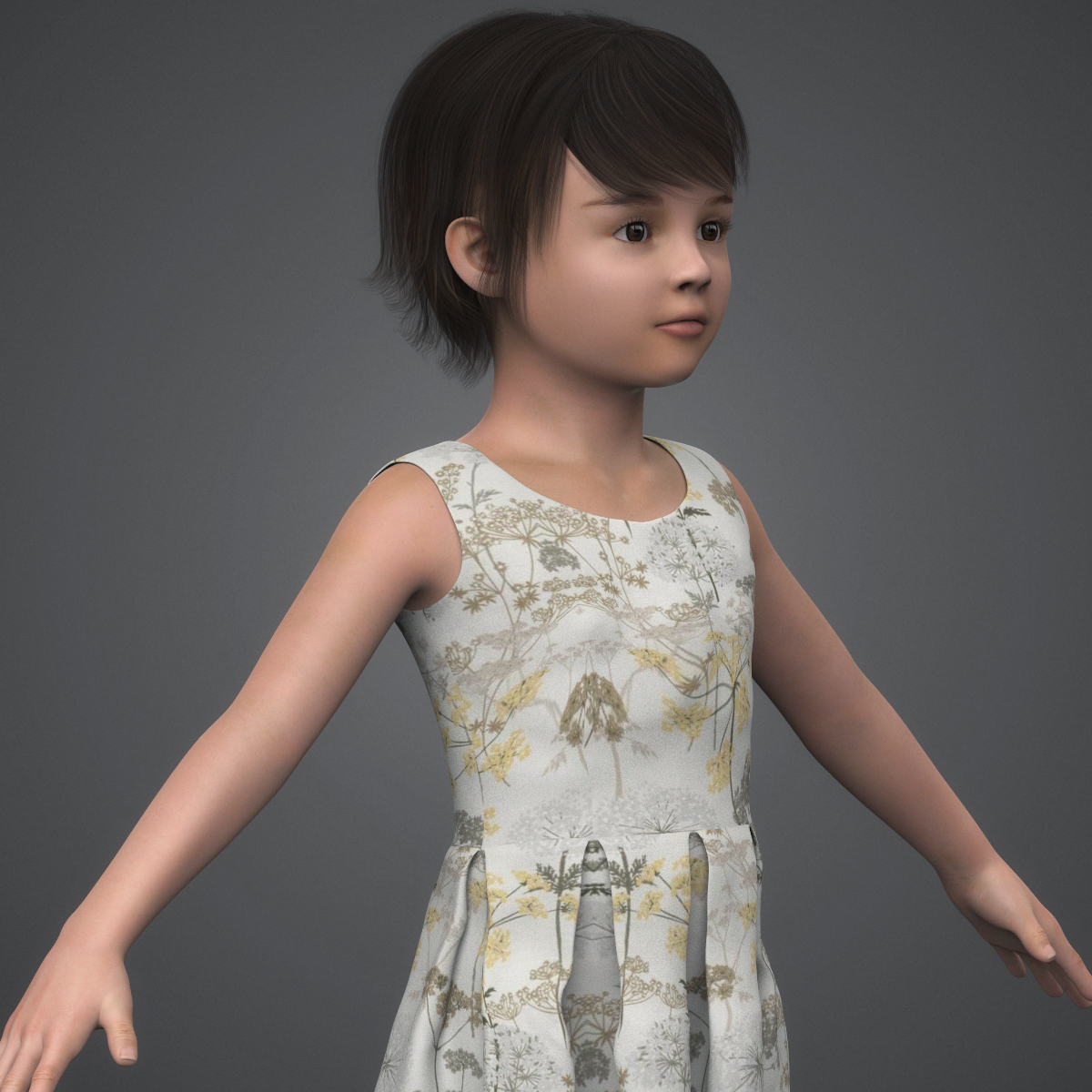 beautiful child girl 3d model max fbx c4d ma mb texture obj 252401