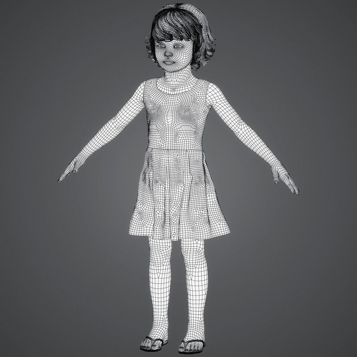 beautiful child girl 3d model max fbx c4d ma mb texture obj 252405