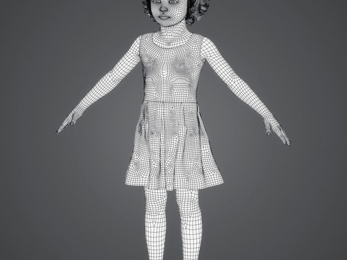 Beautiful Child Girl 3d model max fbx c4d ma mb  obj