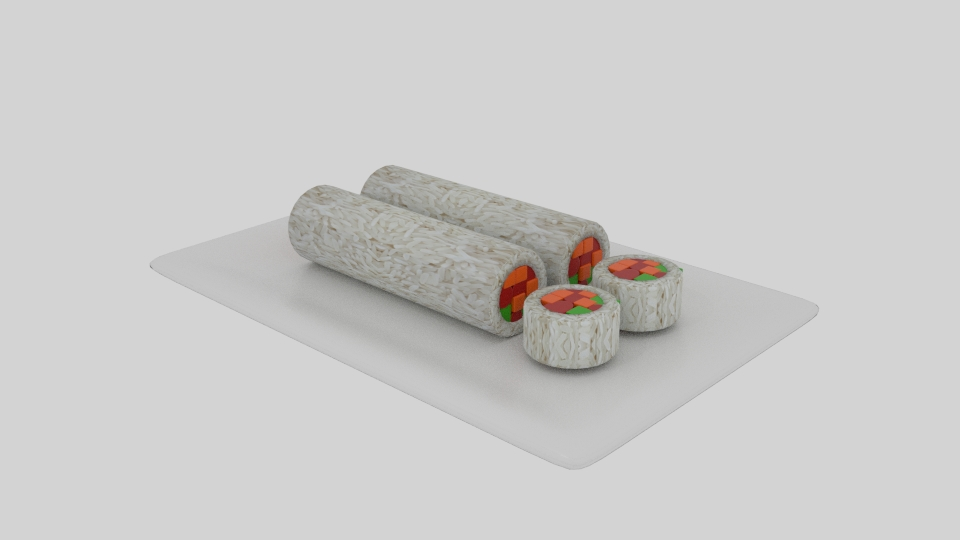 cylinder sushi sliced 3d model blend 252617