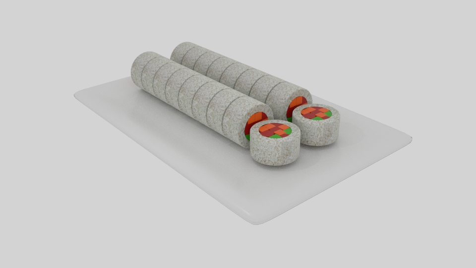 rice roll sushi sliced 3d model blend 252631