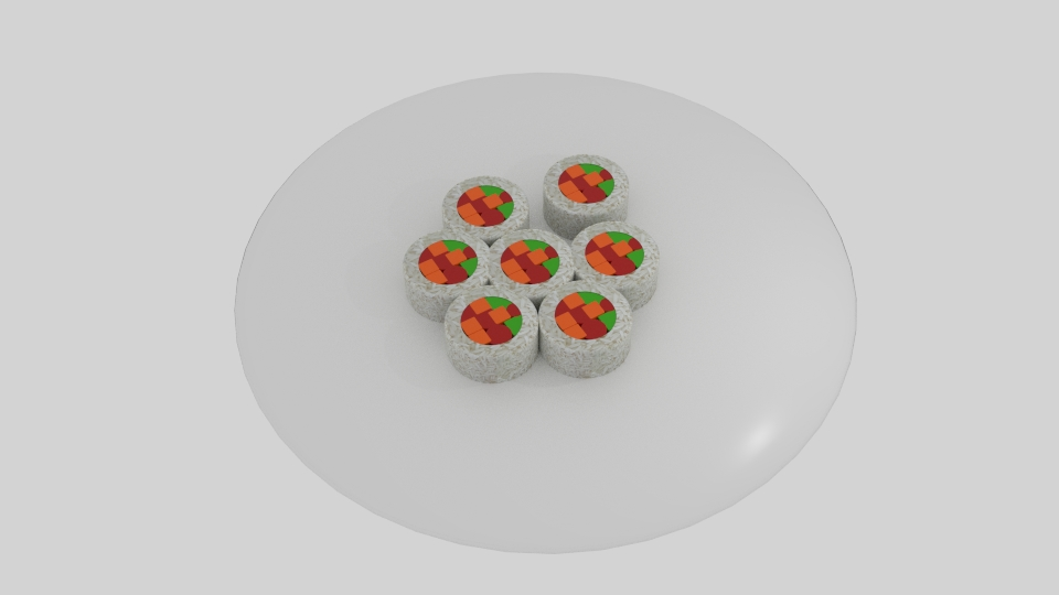 rice roll sushi platter 3d model blend 252638