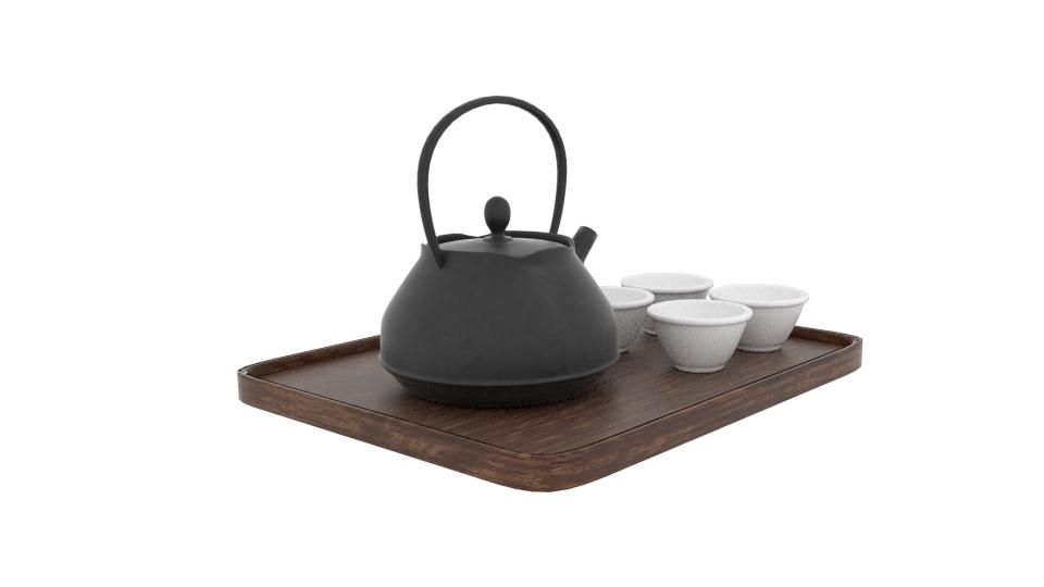 japanese art teapot set 3d model blend 252798