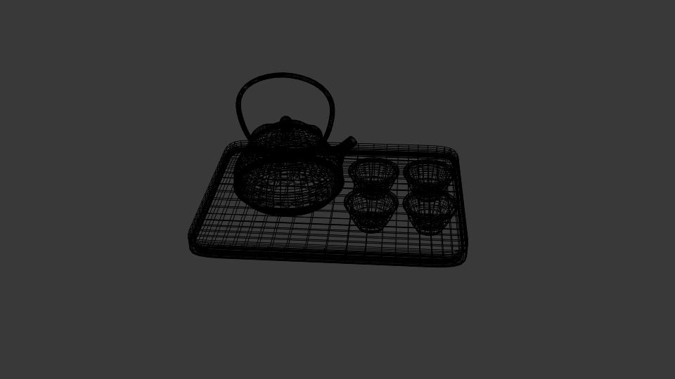 japanese art teapot set 3d model blend 252802