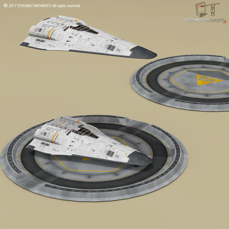 shuttle sci-fi 3d model 3ds dxf fbx c4d obj 252988