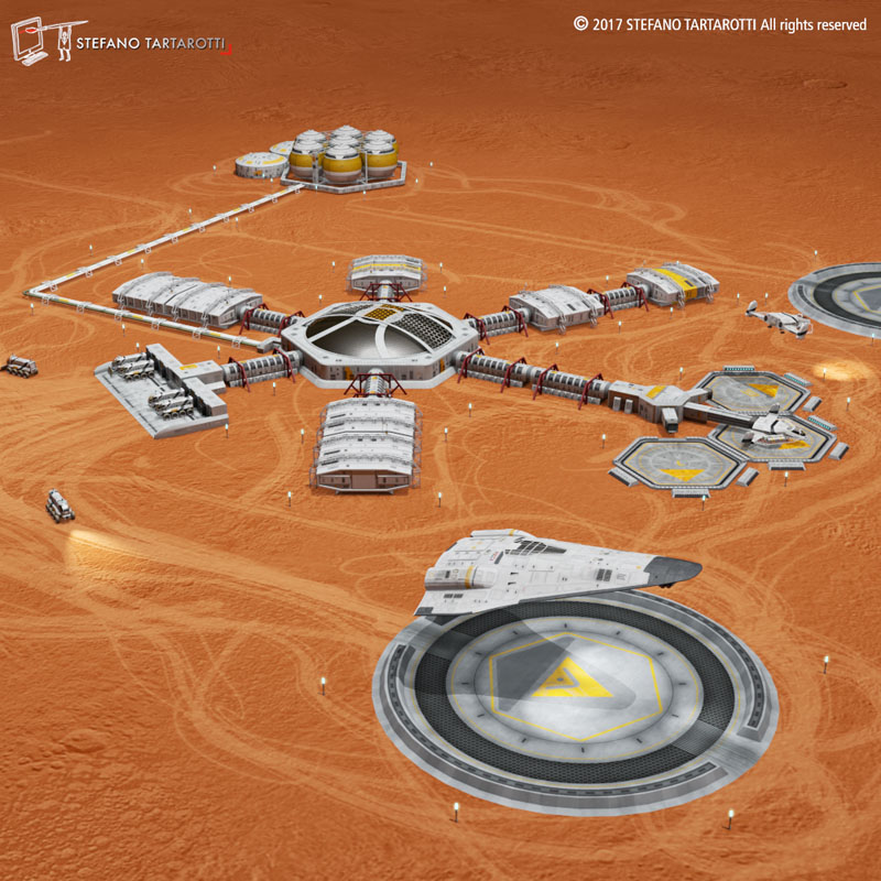 moon or mars base 3d model 3ds dxf fbx c4d obj 252998