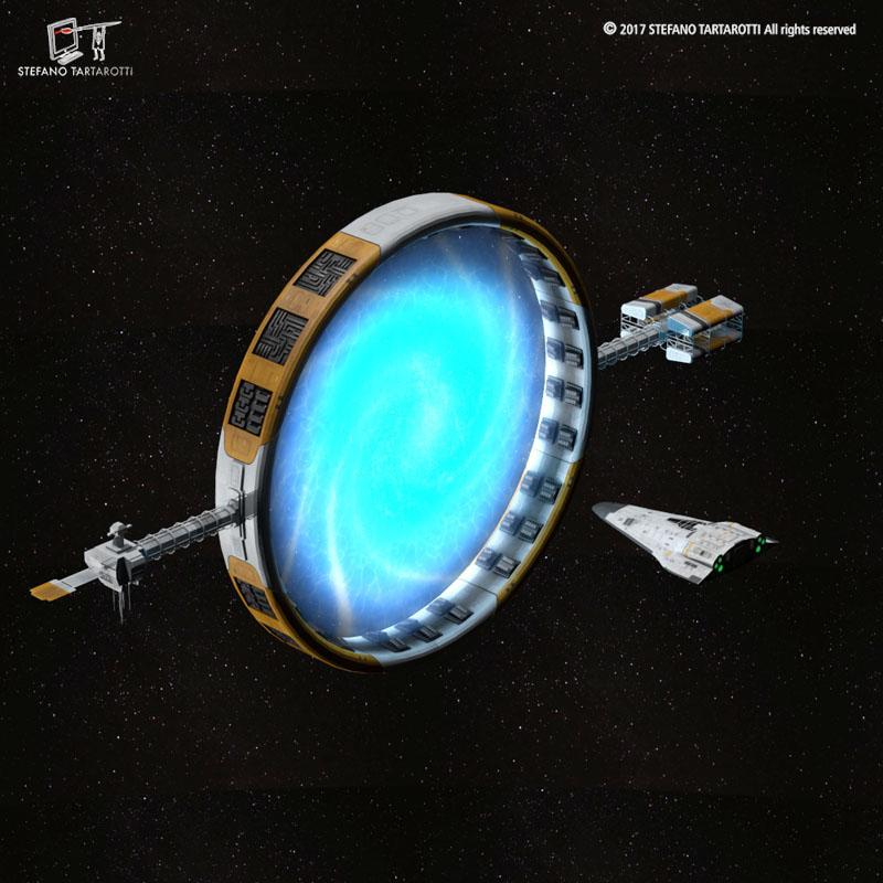 Stargate with sci-fi shuttle 3d model 3ds dxf fbx c4d obj 253071