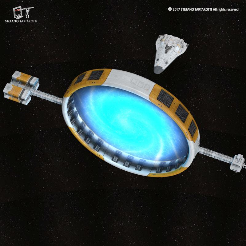 Stargate with sci-fi shuttle 3d model 3ds dxf fbx c4d obj 253072