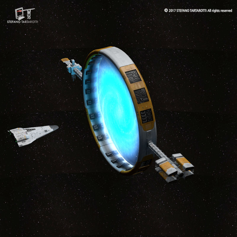 Stargate with sci-fi shuttle 3d model 3ds dxf fbx c4d obj 253073