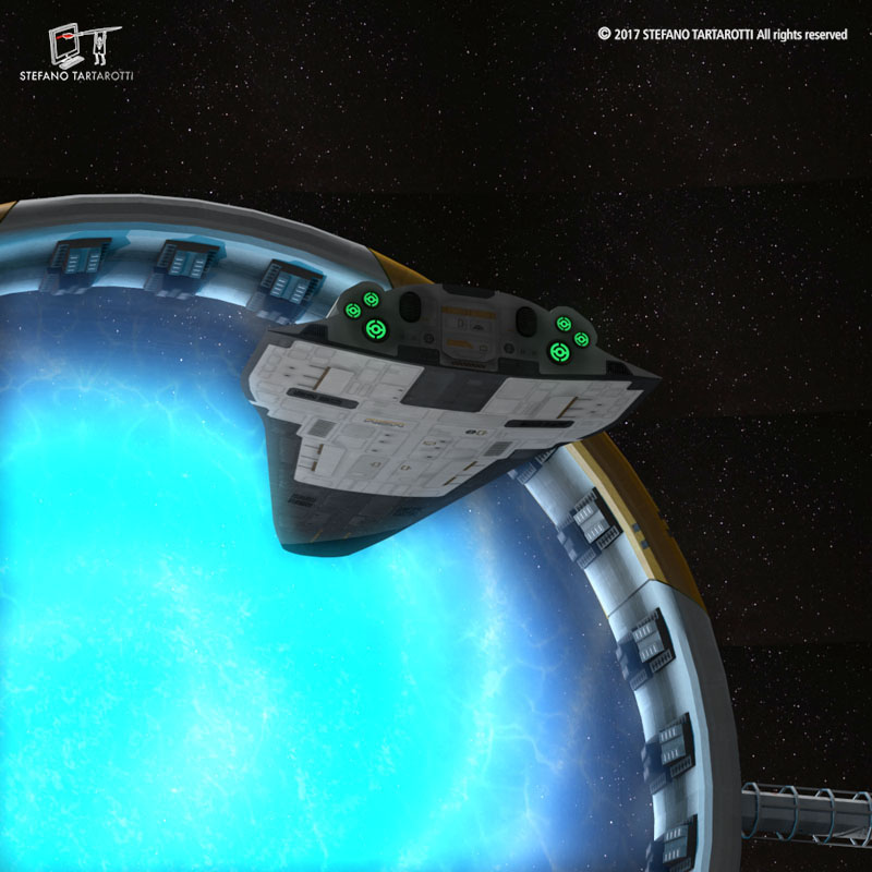 Stargate with sci-fi shuttle 3d model 3ds dxf fbx c4d obj 253075