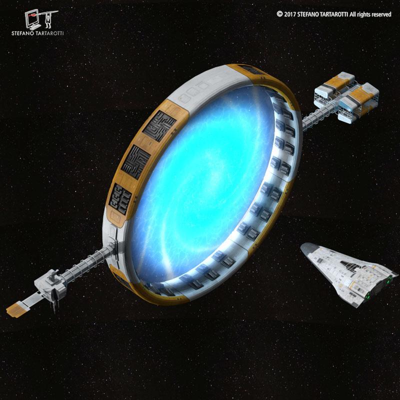 Stargate with sci-fi shuttle 3d model 3ds dxf fbx c4d obj 253076