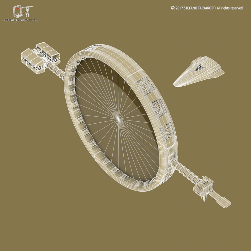 Stargate with sci-fi shuttle 3d model 3ds dxf fbx c4d obj 253077