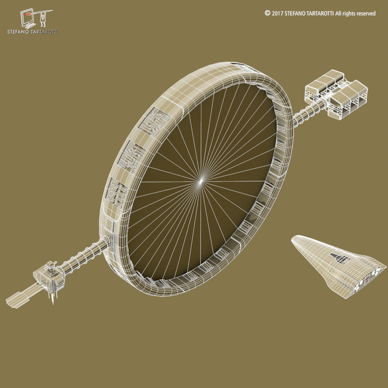 stargate with sci-fi shuttle 3d model 3ds dxf fbx c4d obj 253079