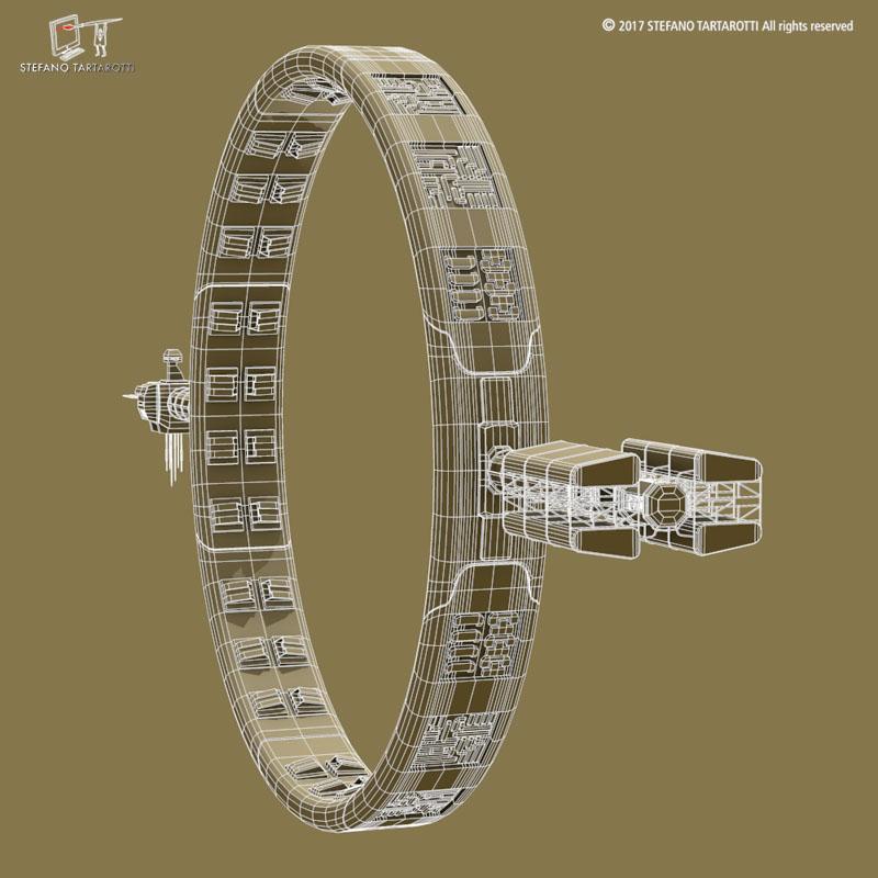 Stargate with sci-fi shuttle 3d model 3ds dxf fbx c4d obj 253080