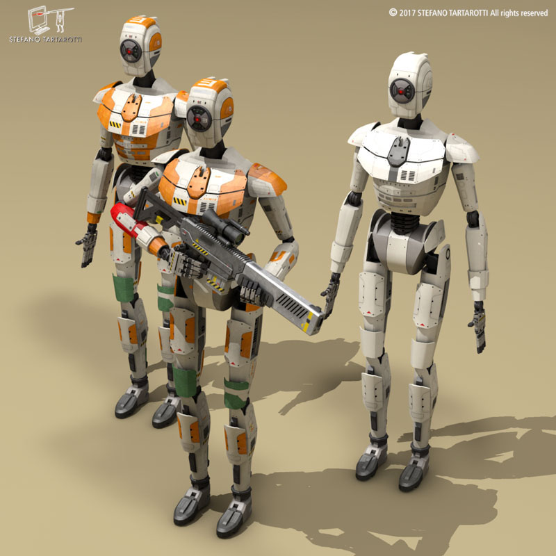 Sci-fi droid 3d model 3ds dxf fbx c4d obj