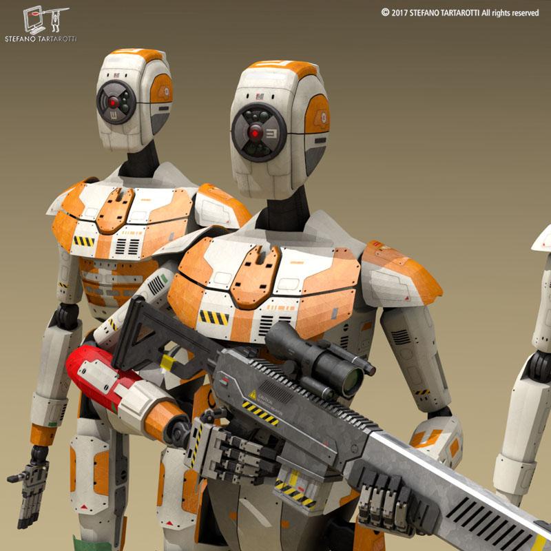 sci-fi droid 3d model 3ds dxf fbx c4d obj 253083